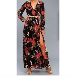Long Sleeve Floral LuLu's Slit Dress
